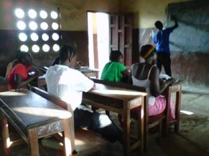 Adult Literacy students in primary school classroom