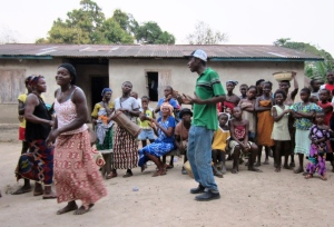 Singing & dancing in the village on one of our first nights there.
