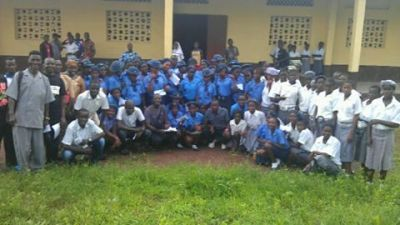 2012-13 Girl Scholarships awards - Prosperity Girls High School (blue shirts), Walter Schutz Secondary School (white shirts)