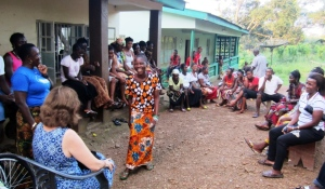 Adult Literacy students greet Arlene and thank Sherbro Foundation for the chance to start their education.