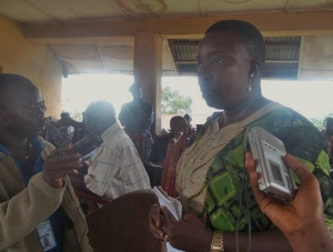 Rosaline Kaimbay interviewed at chiefdom meeting.