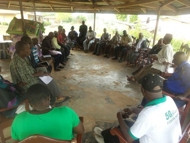 Bumpeh Chiefdom Paramount Chief Charles Caulker announces gov't Ebola funding for all chiefdoms to his Ebola task force.  Dec 2014